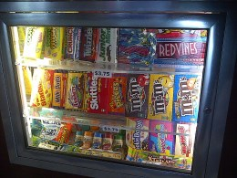 Candy display at Cinemark keep customers guessing what they will enjoy during their movie.