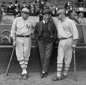 Baseball icon Babe Ruth with Jack Dunn (center) and Jack Bentley (right) Photo courtsey of Flickr Commons