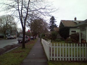 A residential street within the Jefferson Westside Neighborhood