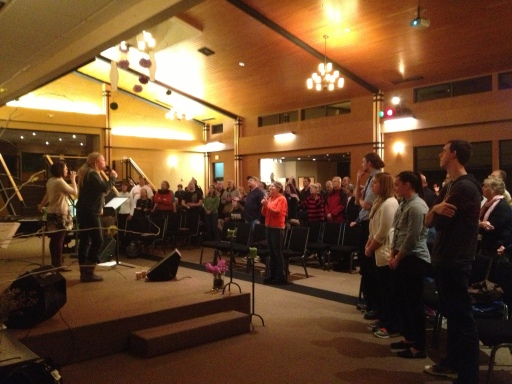 Church members gather every Wednesday night for a smaller service.