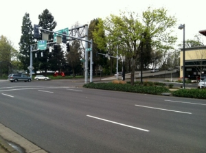 A freeway on-ramp on the edge of the Jefferson Westside Neighborhood