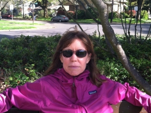Vicki Morgan relaxes on a park bench.