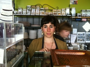 Julia Holtzman behind the counter at Sweet Life Patisserie.