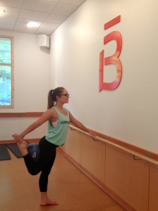 Kailey Regoli in her favorite Barre3 stance.